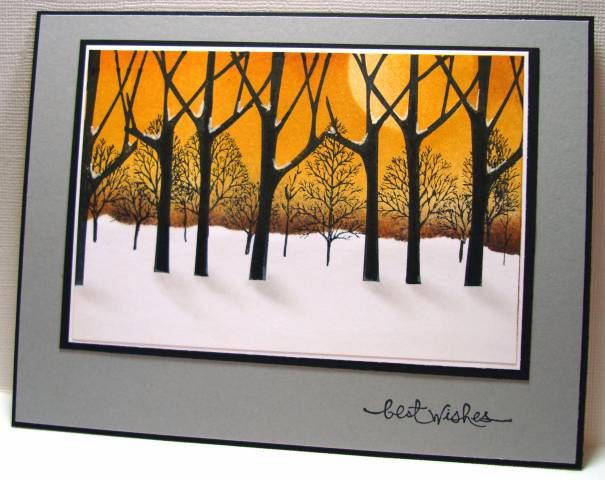 handmade card ... gorgeous winter sunset scene: Trees Three Going Colder by Zindorf ... luv the bold look with subtle features ... shadows from the trees ... sponging to make sung and sky ... beautiful card ... Stampin' Up!