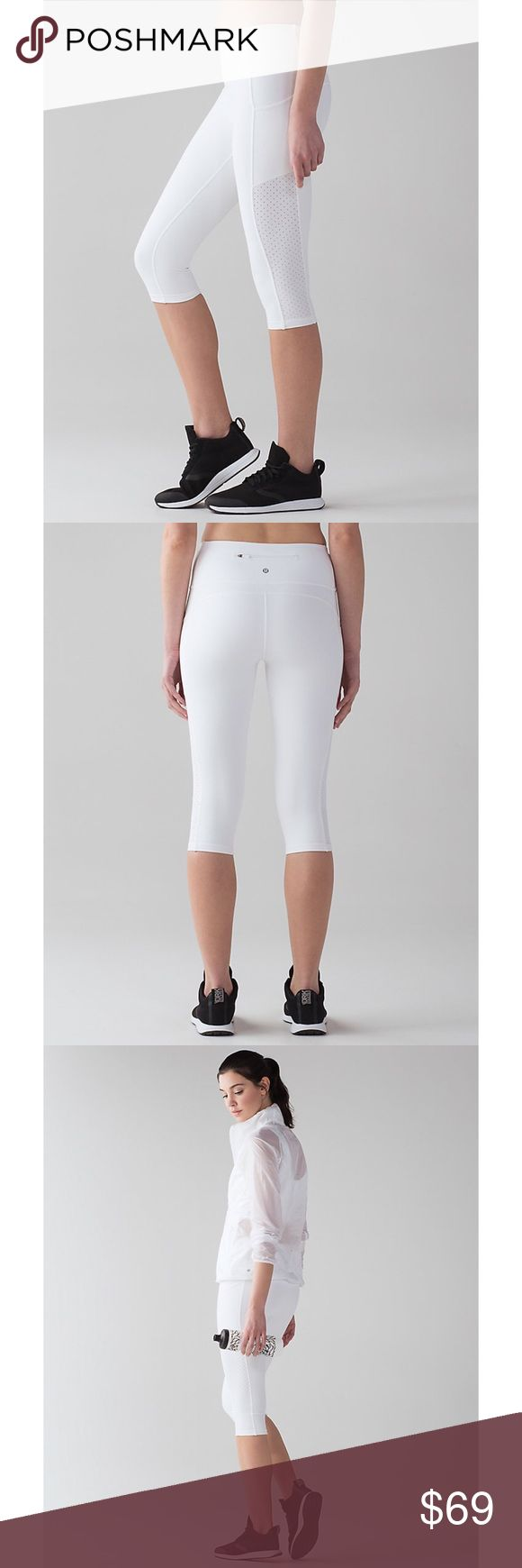 🏆 lululemon White Crop Legging 🏆 Perfect condition, like-new, never worn. Crop leggings w multiple pockets to hold a phone as large as an iPhone 7+. Sweat wicking Lycra Luxtreme fabric for shape, support, retention, and 4 way stretch w full coverage. High rise waistband to keep you covered front to back.  Smoke and pet free home. Interested? Make an offer! Willing to do transactions via Venmo or 🅿️aypal to save you money on shipping costs! Feel free to follow me on Instagram @elechicool…