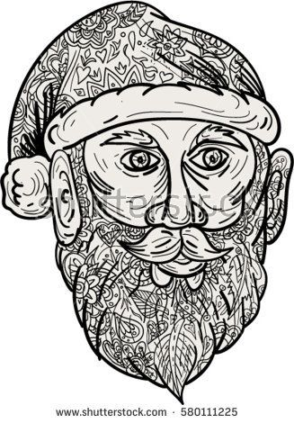 Mandala style illustration of Santa Claus head facing front set on isolated white background.  #SantaClaus #mandala #illustration