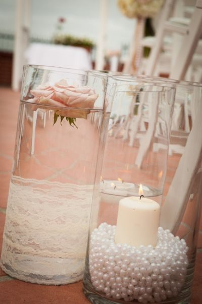 Vintage Inspired Peals and Lace Aisle Decor