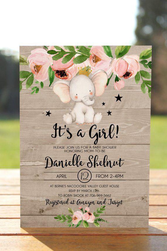 Elephant baby shower invitation girl, girl elephant baby shower invitation, baby shower invite, Printable elephant invitation, wood BASH-03