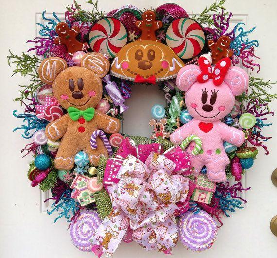 Gingerbread mickey and minnie coronas y adornos para la for Adornos navidenos mickey mouse