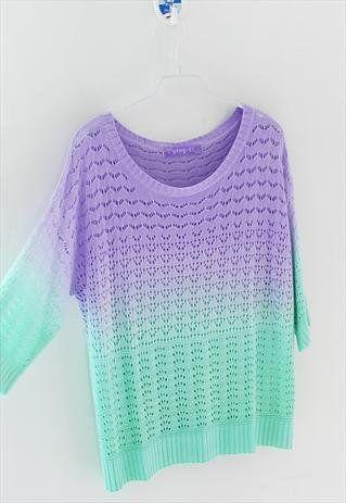 Color : Gradient purple, yellow gradient , gradient blue Size: standard size ( medium size ) Fabric: Cotton blend Size (cm): Shoulder 58 , Bust 106 , Sleeve 27 , Length 55 ,