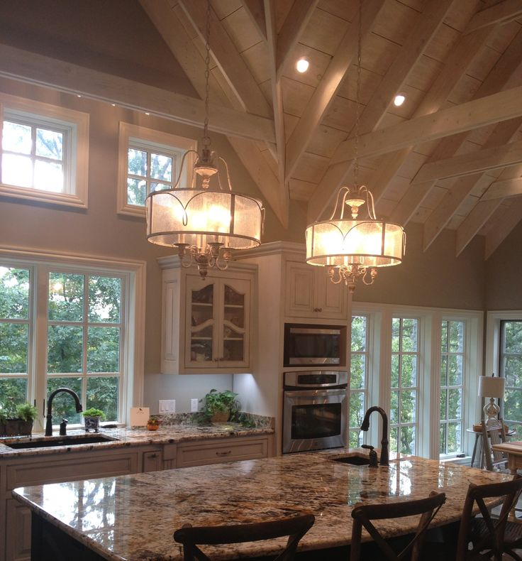 Kitchen Lighting Vaulted Ceiling: French Country, Gray Glazed Cabinets, White Washed Vaulted