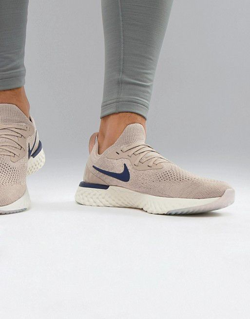 be6f7db075a58f Nike Running Epic React Flyknit trainers in beige – She s Buy ...