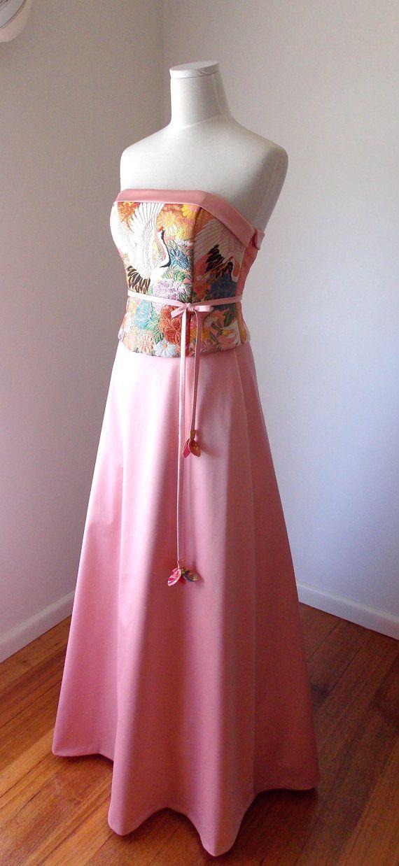 Wedding dress vintage KIMONO GEISHA pink gold brocade by Shantique