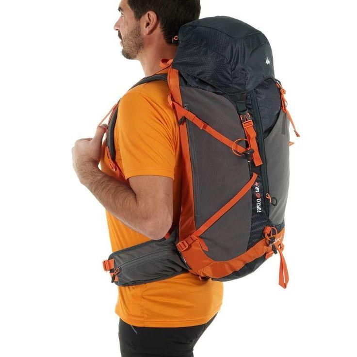 Trekking_Accessoires Outdoor - Rugzak F40 Air+ zwart/oranje QUECHUA - Backpacks en rugzakken