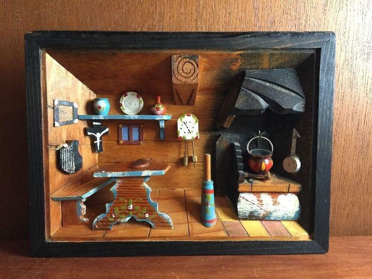 Vintages deutsches hölzernes Diorama