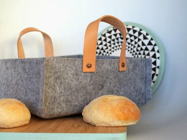 DIY Brødkurv i filt og læder