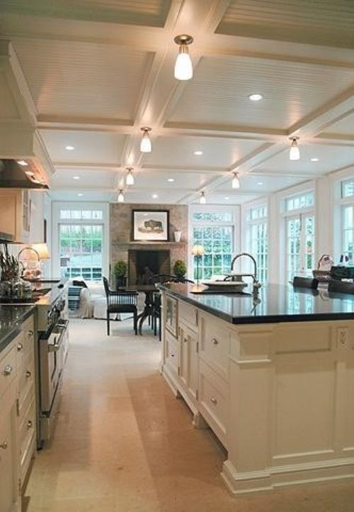 Gorgeous ceilings, open kitchen and room! #kitchen