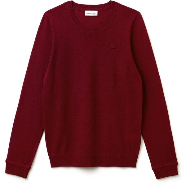 Lacoste Women's Crew Neck Wool Jersey Sweater ($145) ❤ liked on Polyvore featuring tops, sweaters, embroidered top, lacoste, crew top, crew-neck sweaters and red sweater