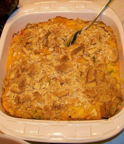 Squash Casserole. I made this for dinner and it was delish! I stayed away from the stuffing and butter to cut calories but I didn't miss it. I was out of cream of chicken soup (I realized at the last minute) so I used cream of broccoli. It was great! Definitely will make again. :)