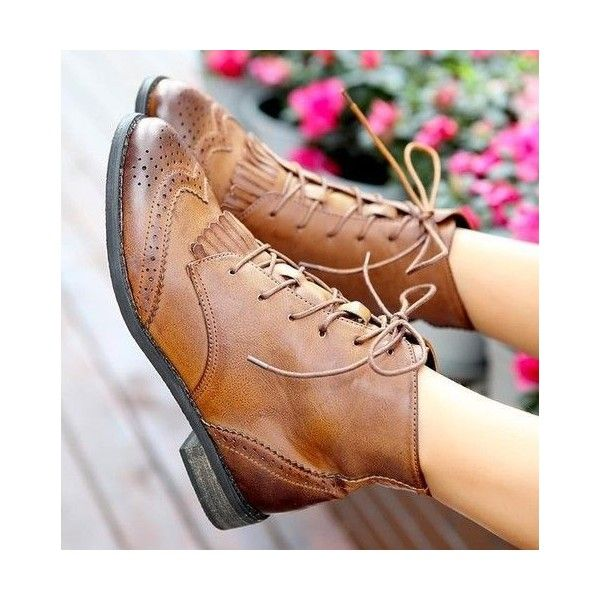 Womens Lace Up Tassel Fringe Punk Low Heel Brogue Ankle Boots Oxford... ❤ liked on Polyvore featuring shoes, balmoral oxford shoes, oxford shoes, laced up shoes, punk shoes and punk rock shoes