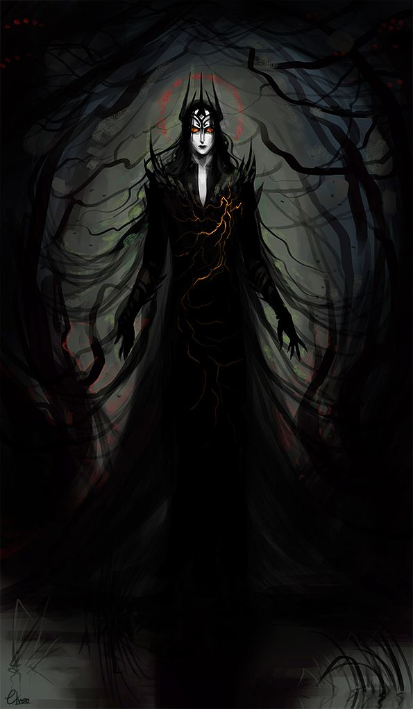 """""""…the evil of Melkor and the blight of his hatred flowed out thence, and the Spring of Arda was marred. Green things fell sick and rotted, and rivers were choked with weeds and slime, and fens were made, rank and poisonous, the breeding place of flies; and forests grew dark and perilous, the haunts of fear; and beasts became monsters of horn and ivory and dyed the earth with blood."""" I imagined this painting better… now it looks shitty B """