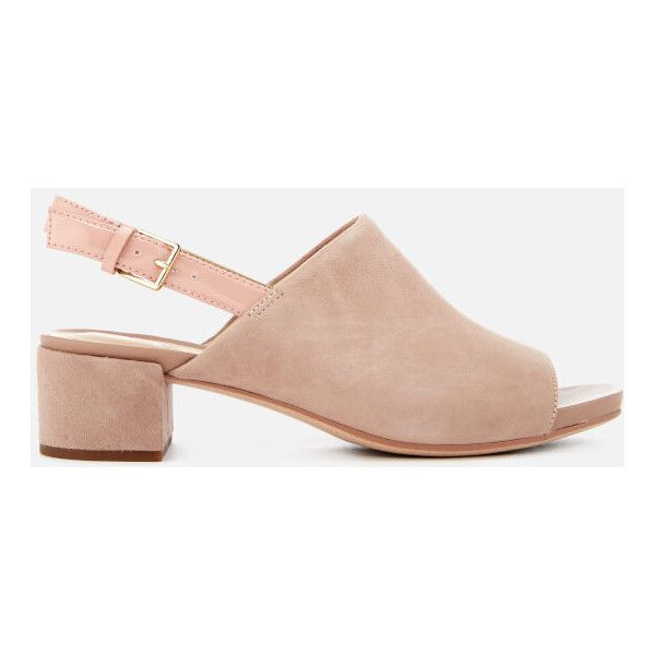 Clarks Women\u0027s Orabella Ivy Suede Mule Block Heels ($83) ? liked on  Polyvore featuring