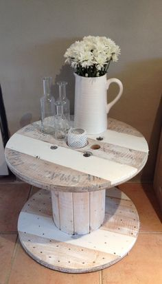 Love this Industrial Upcycled Timber Cable Reel! So versatile... Can be used inside or out, as a coffee table, bedside table, stand or any thing else your creative mind can think of. This unique and rare piece has been reclaimed with Popcorn chalk white wash for a rustic feel. $185