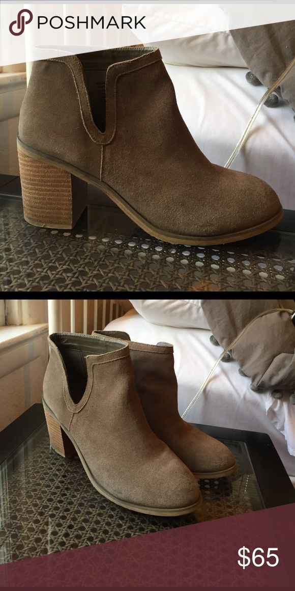 URBAN OUTFITTERS HEEL BOOTIES Perfect for summer! Grey, heeled booties with V-shaped detail cut out on the side. Size 10. Urban Outfitters Shoes Ankle Boots & Booties