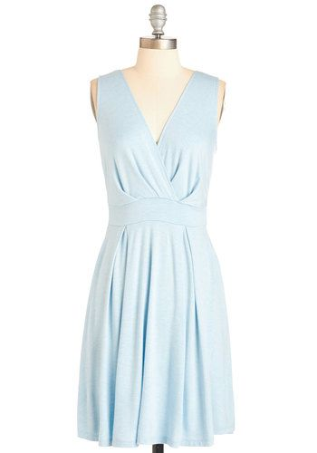 Always in Style Dress - Blue, Solid, Pleats, Casual, A-line, Sleeveless, Spring, Knit, Mid-length, V Neck