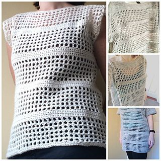 A simple pattern for a mesh crochet top. The pattern is adaptable. Use it as a guide to make the jumper as long and as wide as you like.