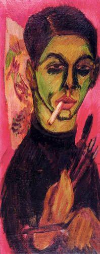 Self portrait, 1913 by Ernst Ludwig Kirchner (German 1880-1938)                                                                                                                                                                                 Mehr