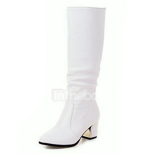 femme bottes bottes a la mode similicuir automne hiver decontracte habille gros talon blanc noir cm
