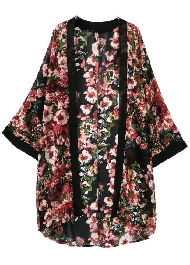 Floral Print Black Chiffon Kimono 24.17