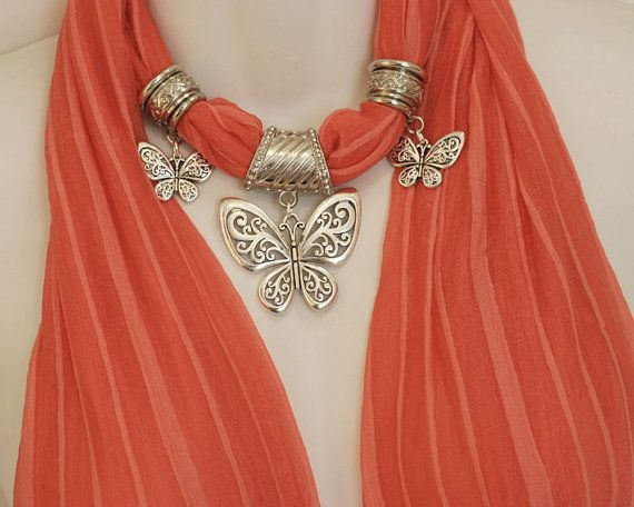 Coral Scarf Jewelry Pendant Scarves by RavensNestScarfJewel, $25.00