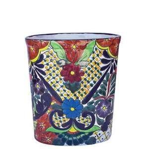 Mexican Talavera Bathroom Trash Can In 2018 Pinterest And Painted Cans