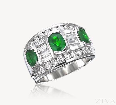 Spectacular Emerald and Diamond Band