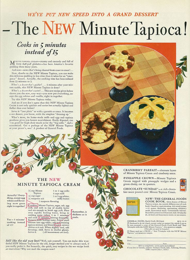 438 best vintage recipe magazine ads images on pinterest retro mccalls magazine december 1934 general foods new minute tapioca cream forumfinder