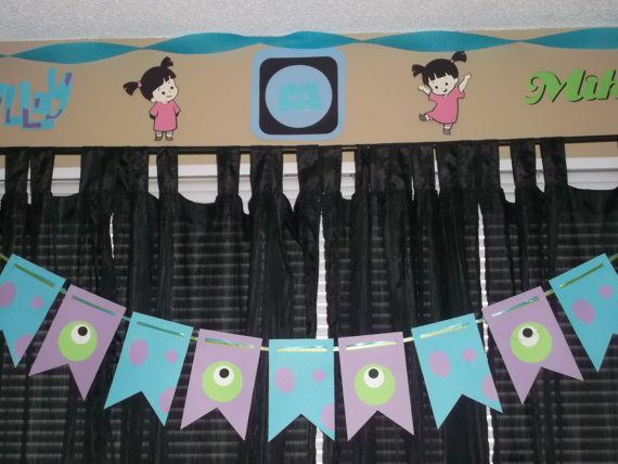 Monsters Inc. banner, Sully and Mike banner, Monsters Inc. birthday party on Etsy, $22.00
