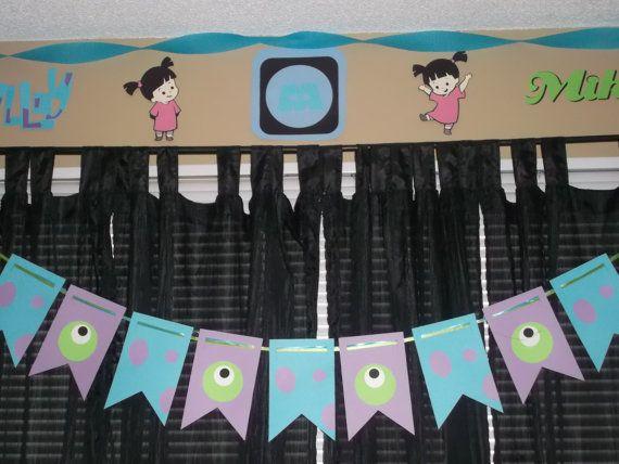 Banner de Monsters Inc., Sully y Mike banner, fiesta de cumpleaños de Monsters Inc.