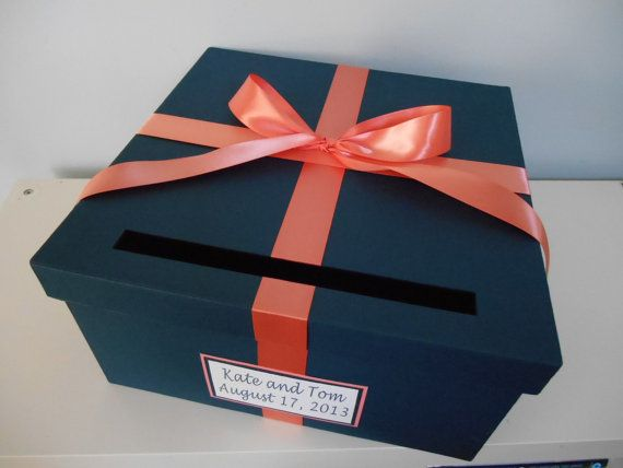 Wedding Card Box Navy with Coral You Can Customize Colors Large 14 inch Box with ribbon and tag