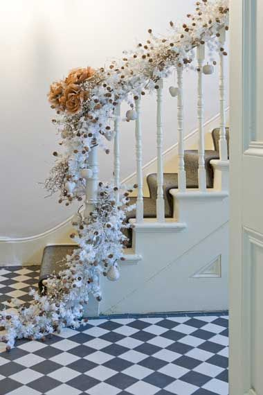 51 best deck the halls images on pinterest christmas - Christmas decorations for stair rail ...