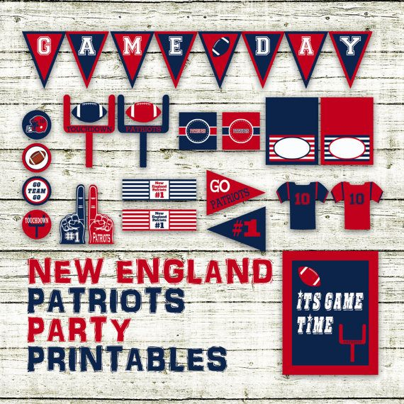 New England Patriots Football Party Printables and Decorations - Printable - 15 Pages in PDF Format - INSTaNT DOWNLoAD