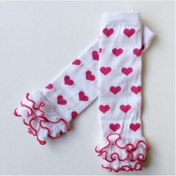 Baby Leg Warmers Kids Legging Tights Cotton Heart Socks Valentine's Day Infant Toddler Ruffle Warmers Lovely Kniekousen Meisje