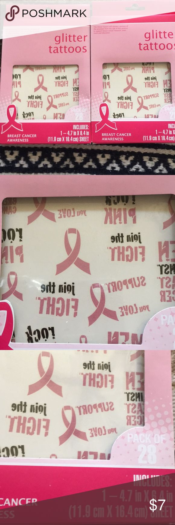 🎉3 for $18 cancer pink ribbon temp tattoo 2 pack Please see photos for details.  Bundle this listing for a private offer. :) Thanks for looking! Accessories