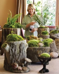 Moss gardens- Moss gardens are simple to construct. Put a layer of crushed stone or gravel in the bottom of a vessel for drainage. (Wide, shallow containers look best.) Top that with a layer of potting soil, and then add moss, stones, and plants in any arrangement that strikes your fancy.