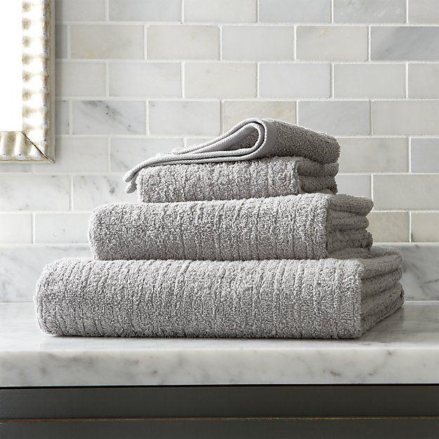 Ribbed Grey Bath Towels | Crate and Barrel