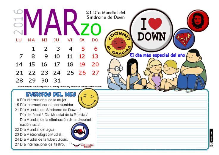 Calendario mes de marzo 2016