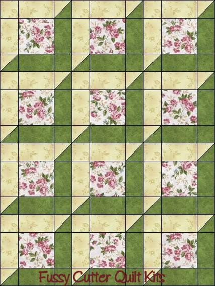 Katelyn's Garden Red Rooster Pink Roses Sage Green Attic Window Shabby Chic Floral Flowers Easy Pre-Cut Quilt Blocks Top Kit