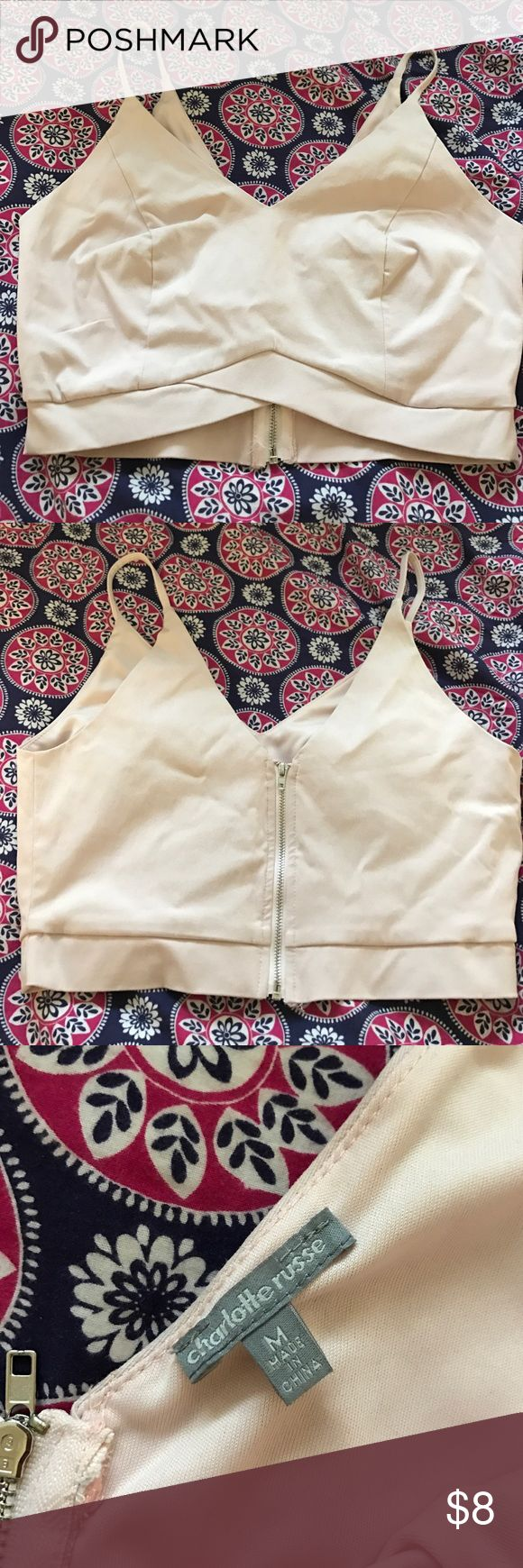 Super Cute Pink Charolette Rouse crop top! Charolette Rouse light pink women's crop top. Only been worn once in great condition! Asking $8 but will take best offer! :) Charlotte Russe Tops Crop Tops