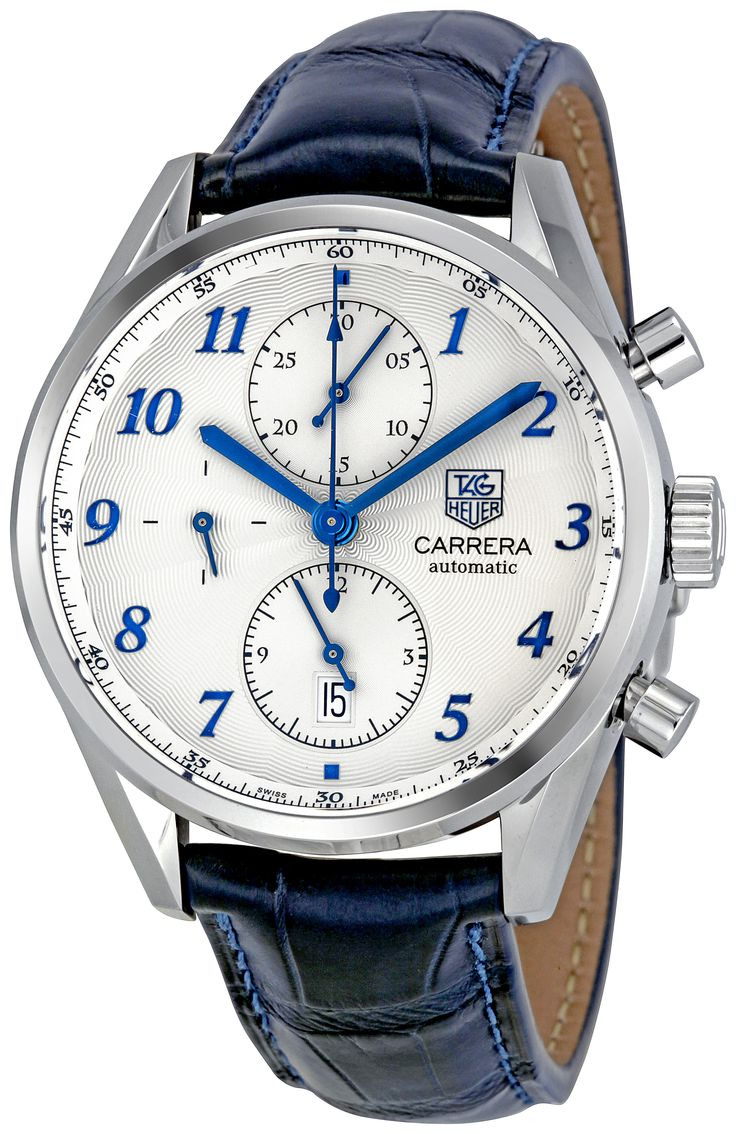 Tag Heuer Carrera Heritage Chronograph Automatic Blue Alligator Leather Mens Watch CAS2111.FC6292.     Is it just me, or does this look like an IWC Portuguese?