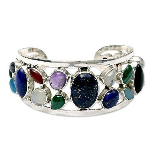 NOVICA MultiGem Cultured Freshwater Pearl 925 Sterling Silver Cuff Bracelet Colors of Life >>> Click image for more details.