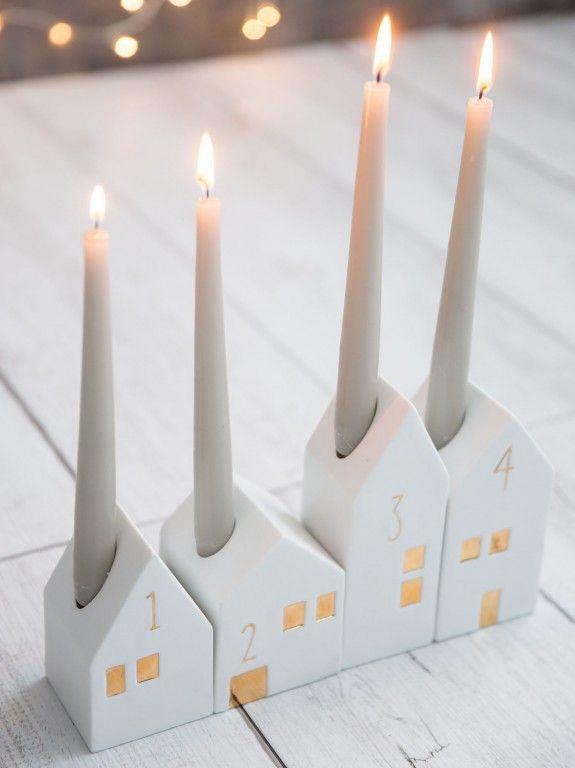 décoration de Noël en céramique blanche