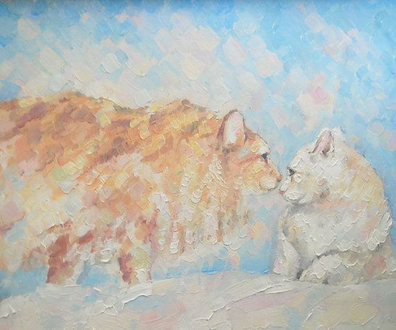 Original Oil Painting Red Two Cat lover gift Kissing by FrozenLife