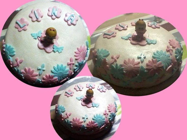 It's a girl sponge cake #babygirl #baby #babyshower #sugarpaste #spongecake #babyborrel #eetbare glitter #babypink #white #babyblue #girl