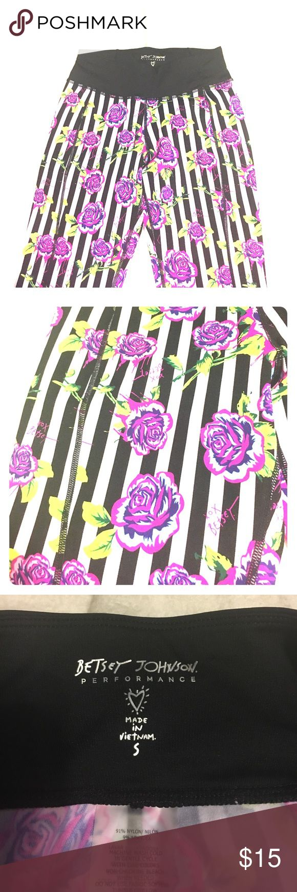 Betsy Johnson Performance Capris Adorable black and white striped workout capris with pink/purple/blue flower pattern. So cute and comfy! Perfect for the gym, outdoor workouts or just a day shopping! Betsey Johnson Pants Leggings