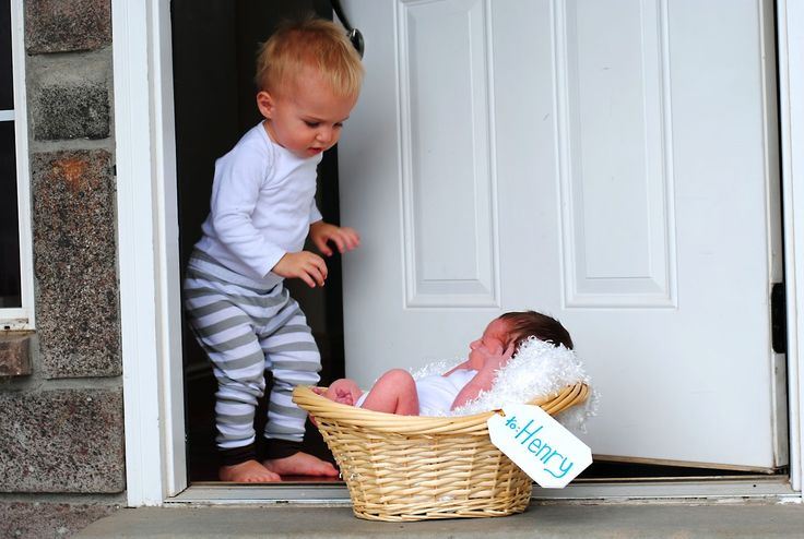 New big brother or sister with baby sibling on the doorstep. :)