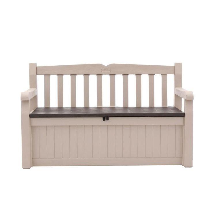 Keter Eden 70 Gal Outdoor Garden Patio Deck Box Bench Beige and Brown Storage  #Keter